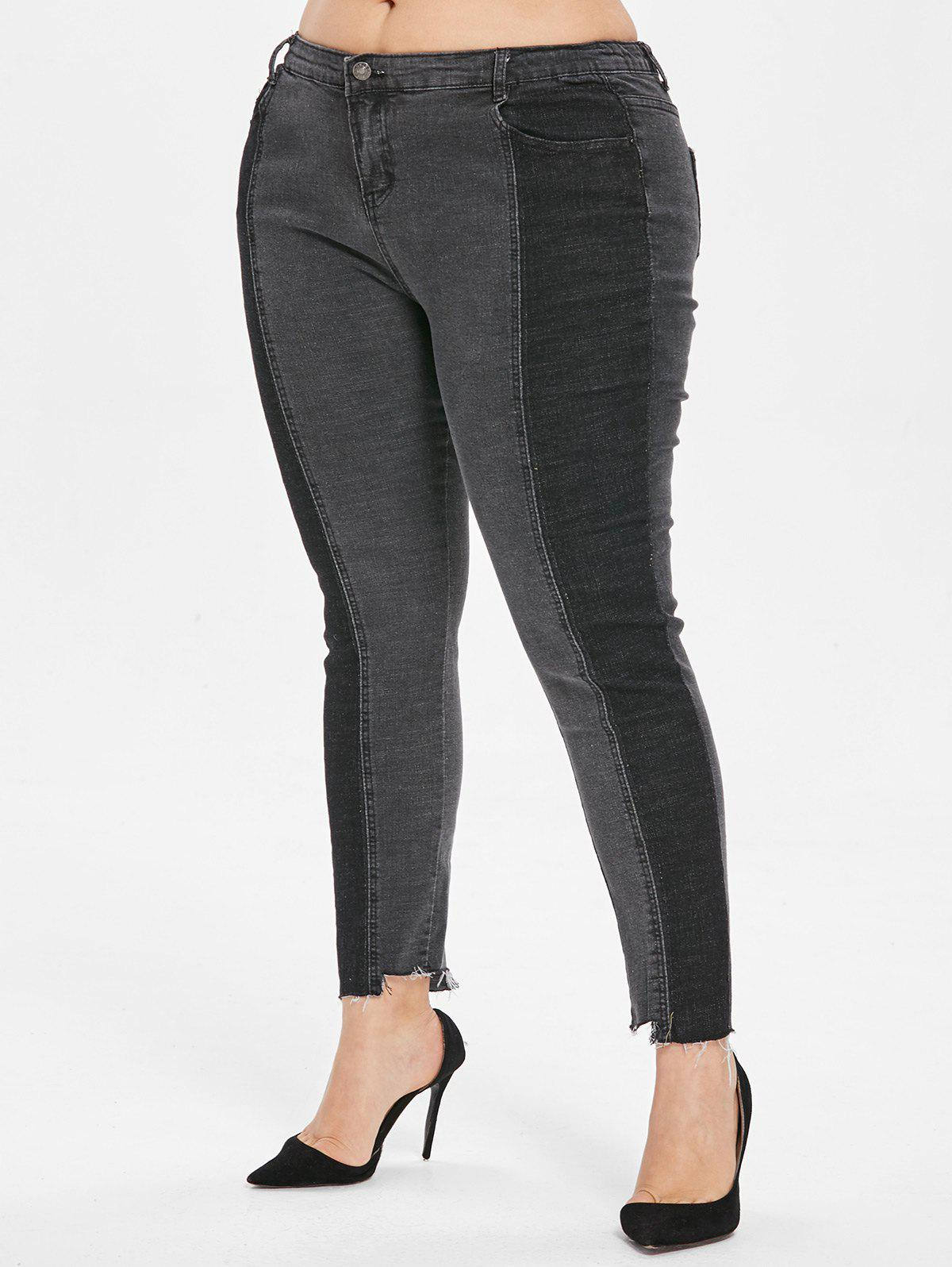 Outfit Plus Size High Rise Color Block Jeans