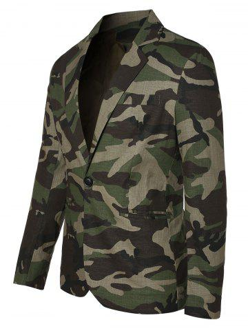 One Button Lapel Collar Camo Blazer