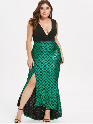 Plus Size Fish Scale Asymmetric Slit Party Dress