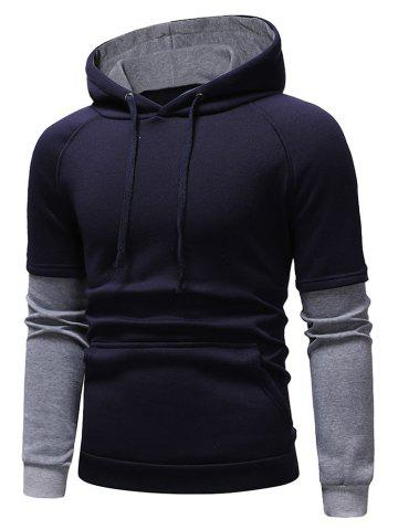 Color Block Panel Casual Pullover Hoodie