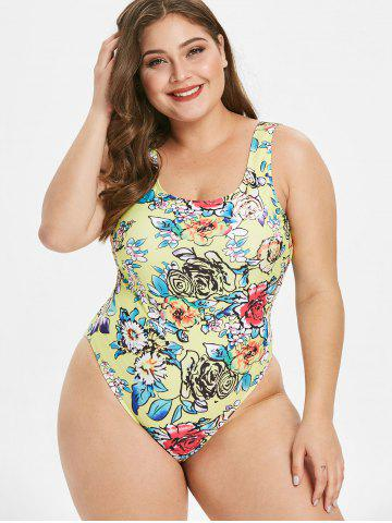 Plus Size Floral Print Padded Swimwear