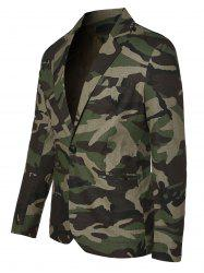 One Button Lapel Collar Camo Blazer -