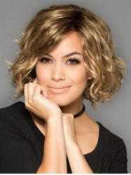 Inclined Bang Colormix Wavy Short Party Synthetic Wig -