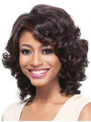 Short Inclined Bang Big Curly Colormix Synthetic Wig -
