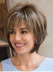 Short See-through Bang Colormix Straight Synthetic Wig -