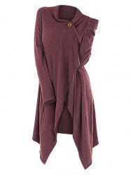 One Button Asymmetrical Wrap Cardigan -
