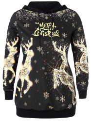 Christmas Elk and Letter Print Plus Size Hoodie -