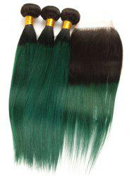 3Pcs Ombre Straight Real Human Hair Weaves with Lace Closure -
