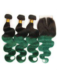 3Pcs Ombre Body Wave Real Human Hair Weaves with Lace Closure -