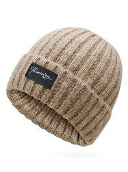 Winter Label Flanging Crochet Knitted Beanie -