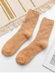 Casual Solid Color Fuzzy Floor Socks -