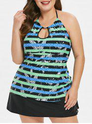 Striped Panel Plus Size Halter Neck Tank Top -