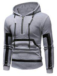 Kangourou Pocket Zipper Panel Pullover Sweat à capuche -