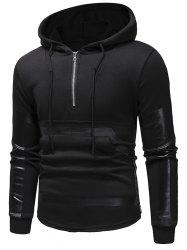 Kangaroo Pocket Zipper Panel Pullover Hoodie -