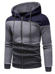 Zipper Drawstring Panel Hoodie -