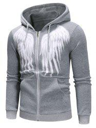 Angel Wings Print Zipper Drawstring Hoodie -
