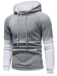 Color Block Panel Casual Pullover Hoodie -