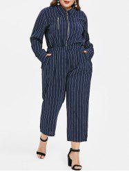 Plus Size Striped Long Sleeves Jumpsuit with Zipper -