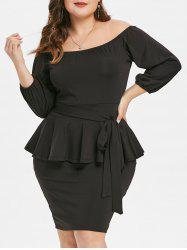 Off The Shoulder Plus Size Peplum Dress with Belt -