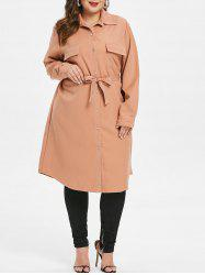 Front Pockets Plus Size Tunic Coat with Belt -