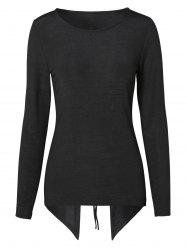 Lace Up Back High Low Knitwear -