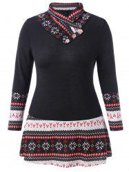 Plus Size Printed Panel Buttoned T Shirt -