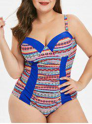 Underwire Plus Size Ethnic Print Swimwear -