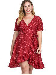 Surplice Neck Plus Size Polka Dot Wrap Dress -