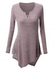 Criss-cross Asymmetric Long Sleeve T-shirt -