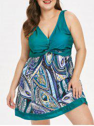 Plus Size Criss Cross Padded Printed Tankini Set -
