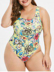 Plus Size Floral Print Padded Swimwear -
