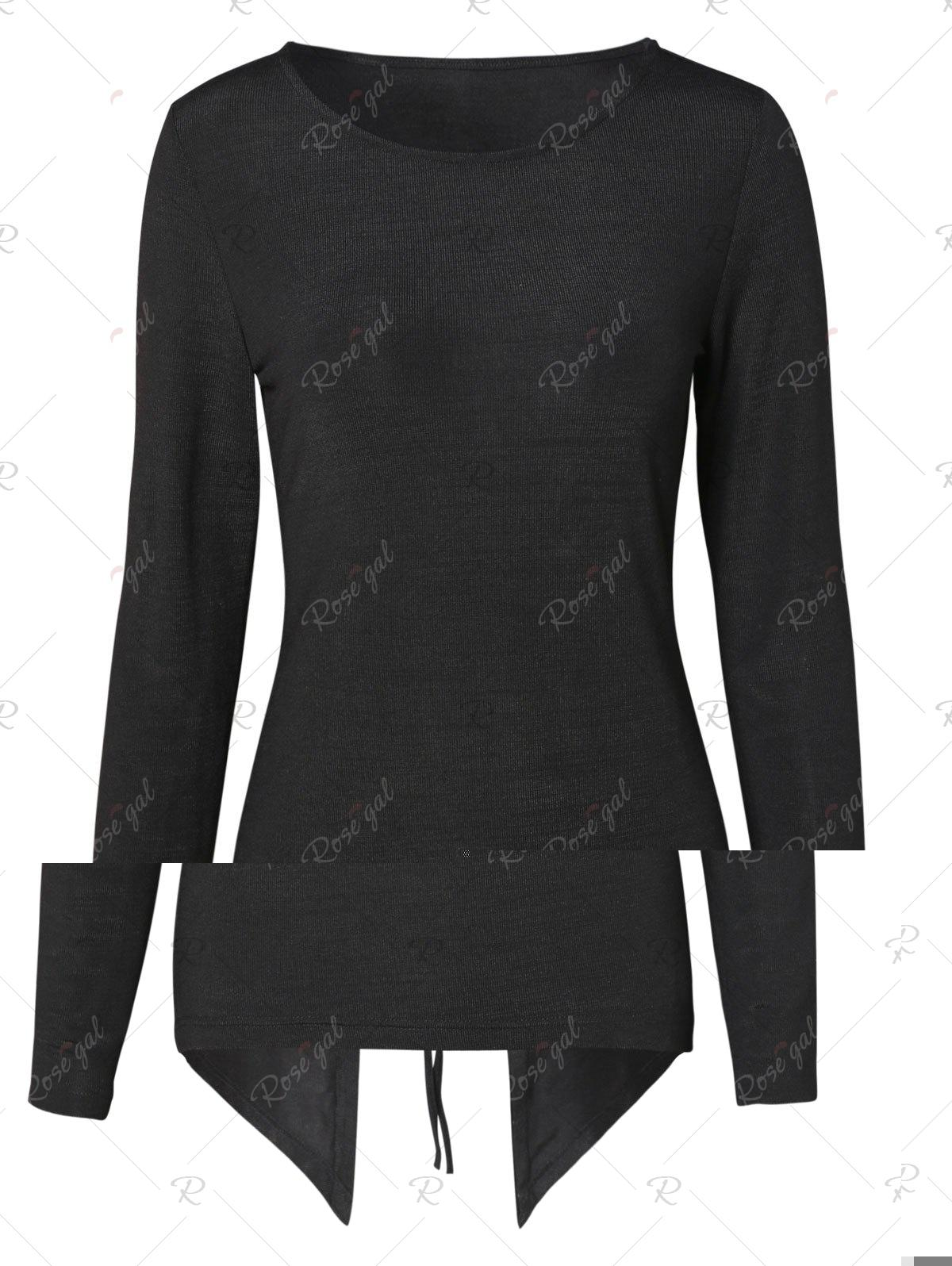 Affordable Lace Up Back High Low Knitwear