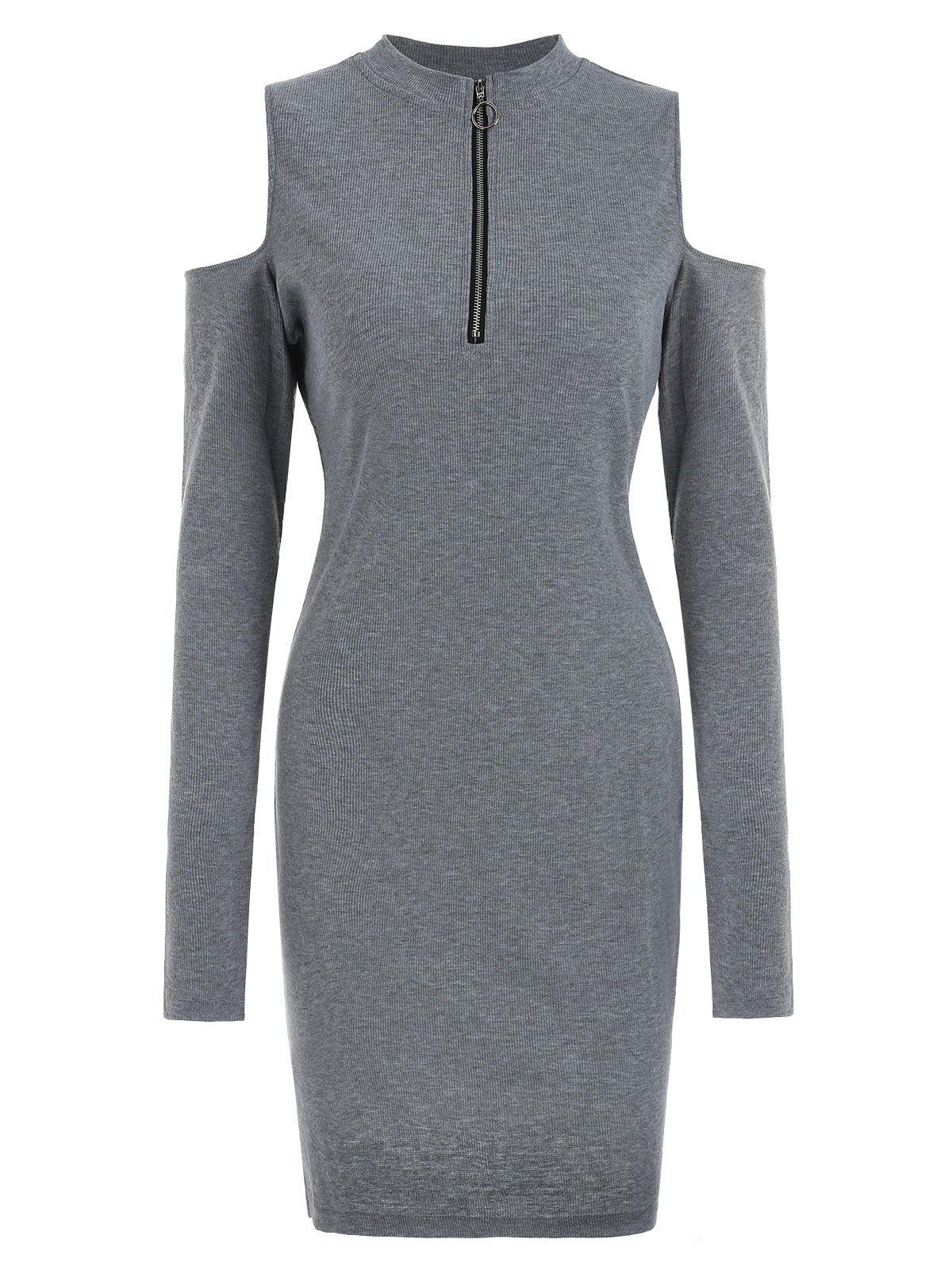 f4be5f6d468a 50% OFF   2019 Half Zip Cold Shoulder Long Sleeves Bodycon Jumper ...