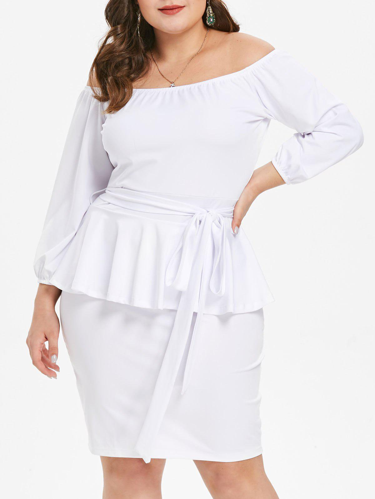 Shops Off The Shoulder Plus Size Peplum Dress with Belt