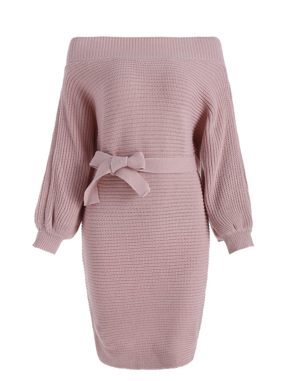 Outfit Off Shoulder Belted Longline Sweater