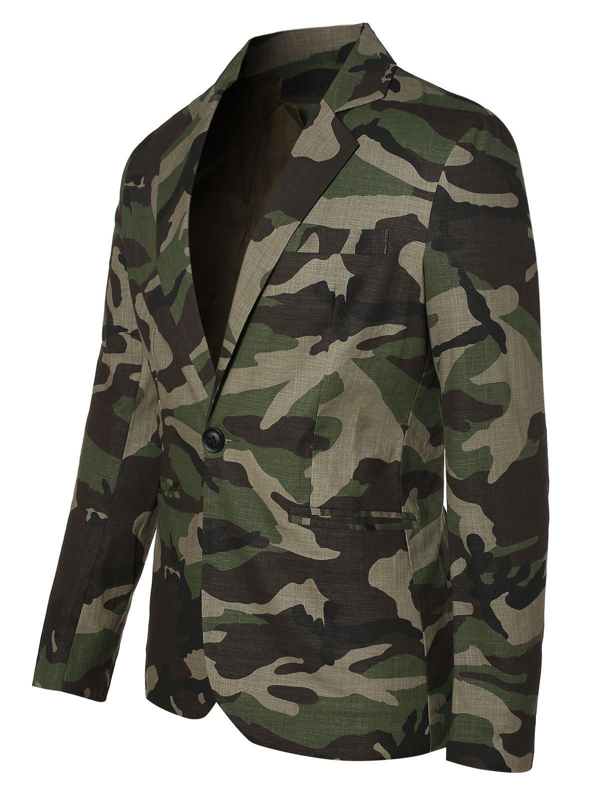 Affordable One Button Lapel Collar Camo Blazer