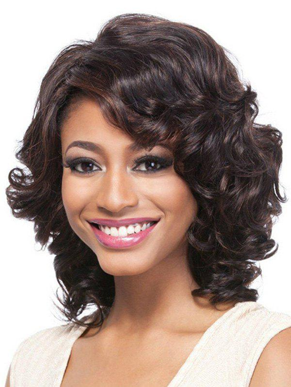 Outfits Short Inclined Bang Big Curly Colormix Synthetic Wig