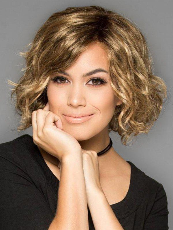 Best Inclined Bang Colormix Wavy Short Party Synthetic Wig