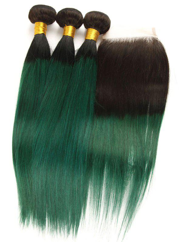 Latest 3Pcs Ombre Straight Real Human Hair Weaves with Lace Closure