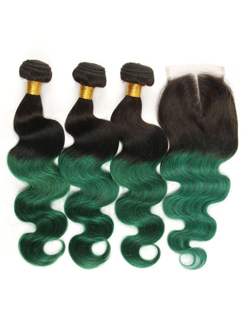 Outfits 3Pcs Ombre Body Wave Real Human Hair Weaves with Lace Closure