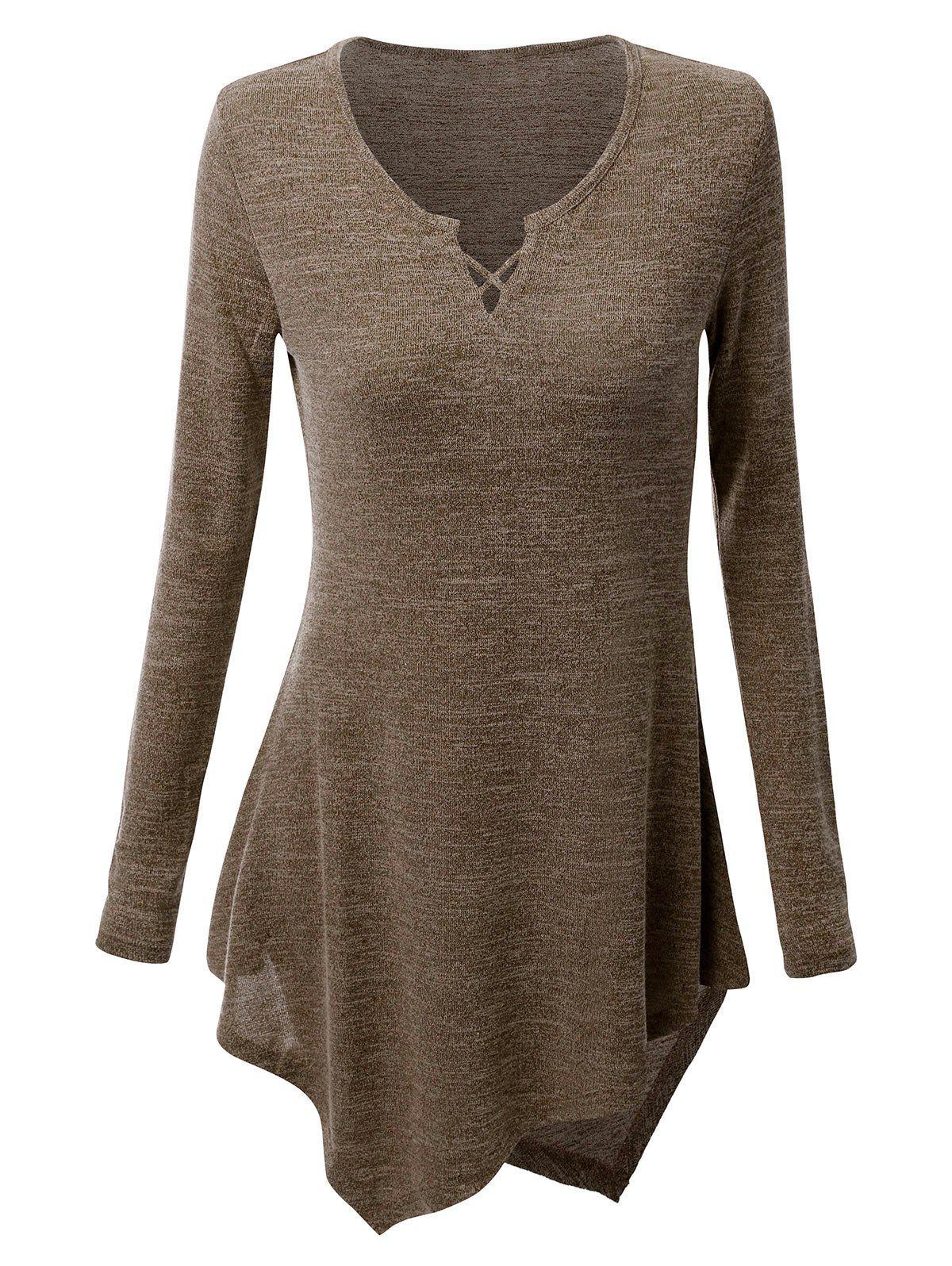 Online Criss-cross Asymmetric Long Sleeve T-shirt