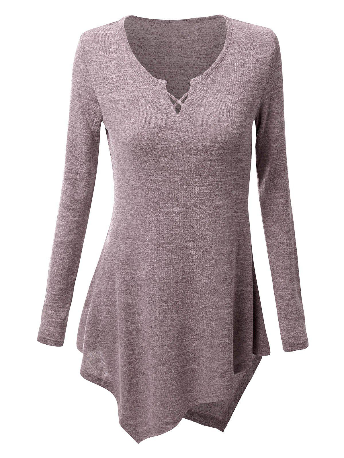 Chic Criss-cross Asymmetric Long Sleeve T-shirt