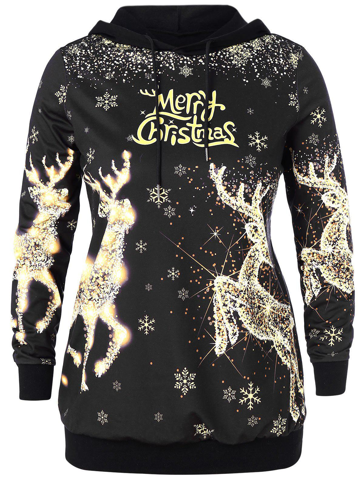 Online Christmas Elk and Letter Print Plus Size Hoodie