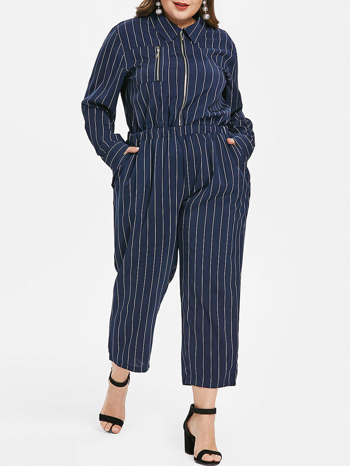 Cheap Plus Size Striped Long Sleeves Jumpsuit with Zipper