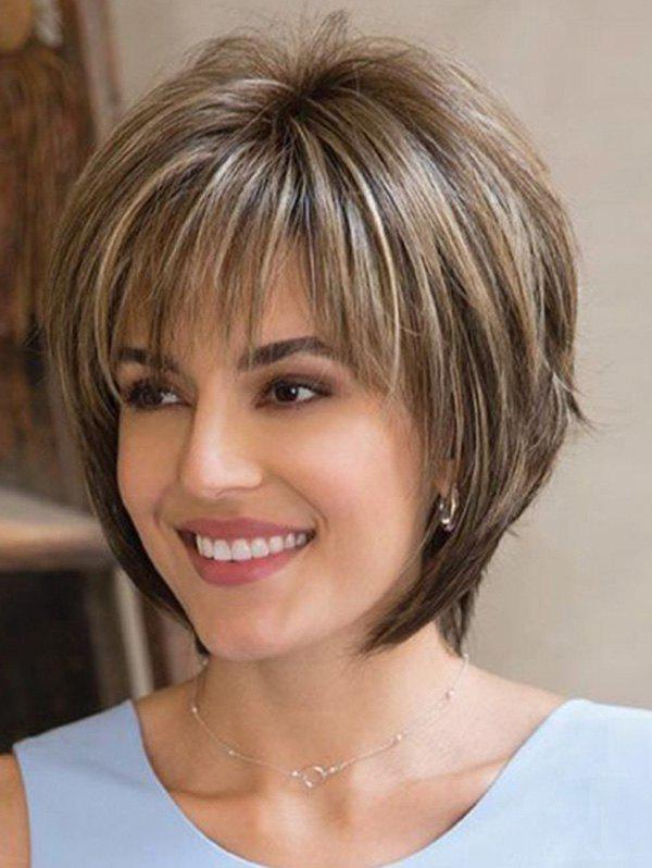 New Short See-through Bang Colormix Straight Synthetic Wig