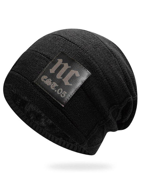 Hot Letter Label Thick Slouchy Beanie