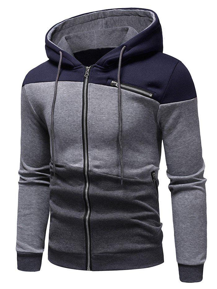 Shop Zipper Drawstring Panel Hoodie