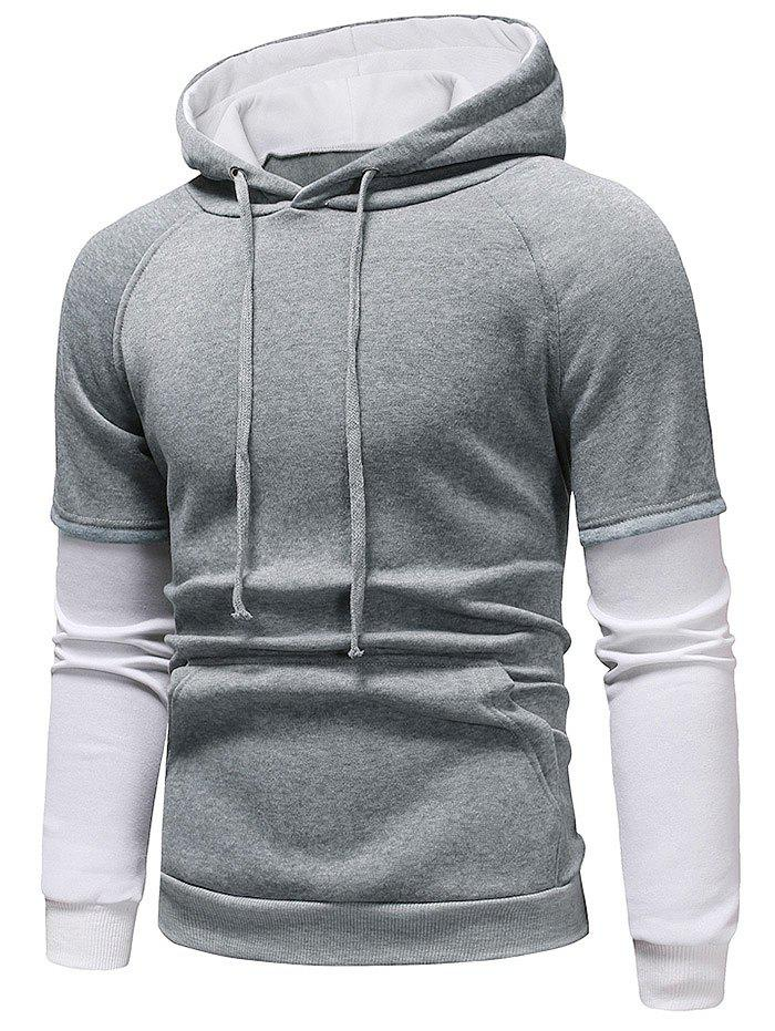 Outfit Color Block Panel Casual Pullover Hoodie
