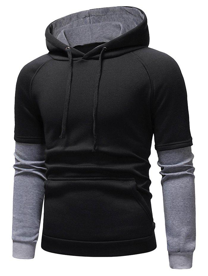Cheap Color Block Panel Casual Pullover Hoodie