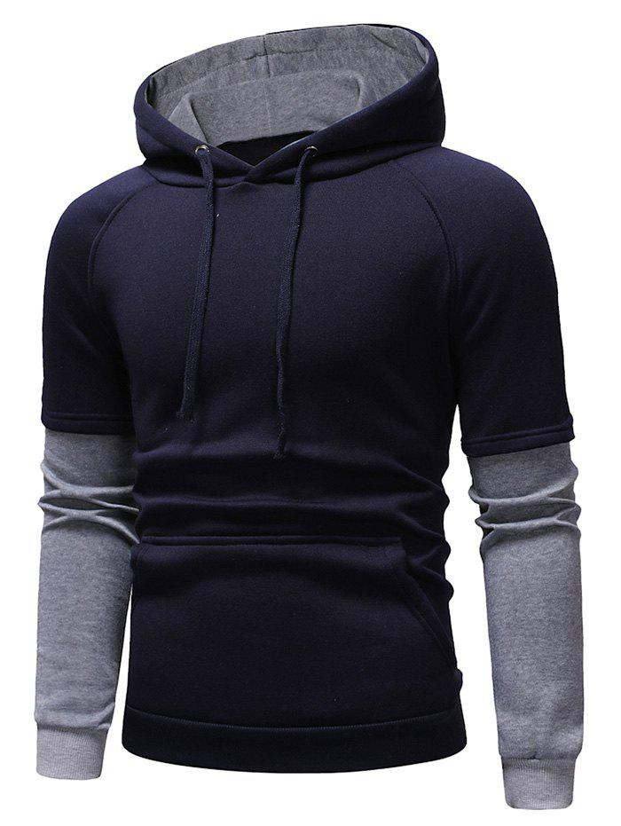 Affordable Color Block Panel Casual Pullover Hoodie